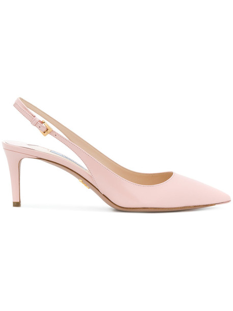 Prada women pumps leather purple pink shoes