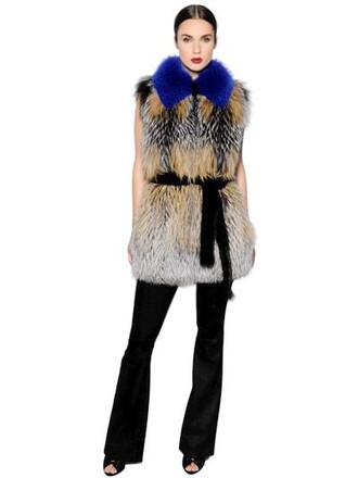 vest fur vest fur fox blue jacket