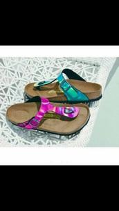 shoes,shiny,irredescent,birkenstocks