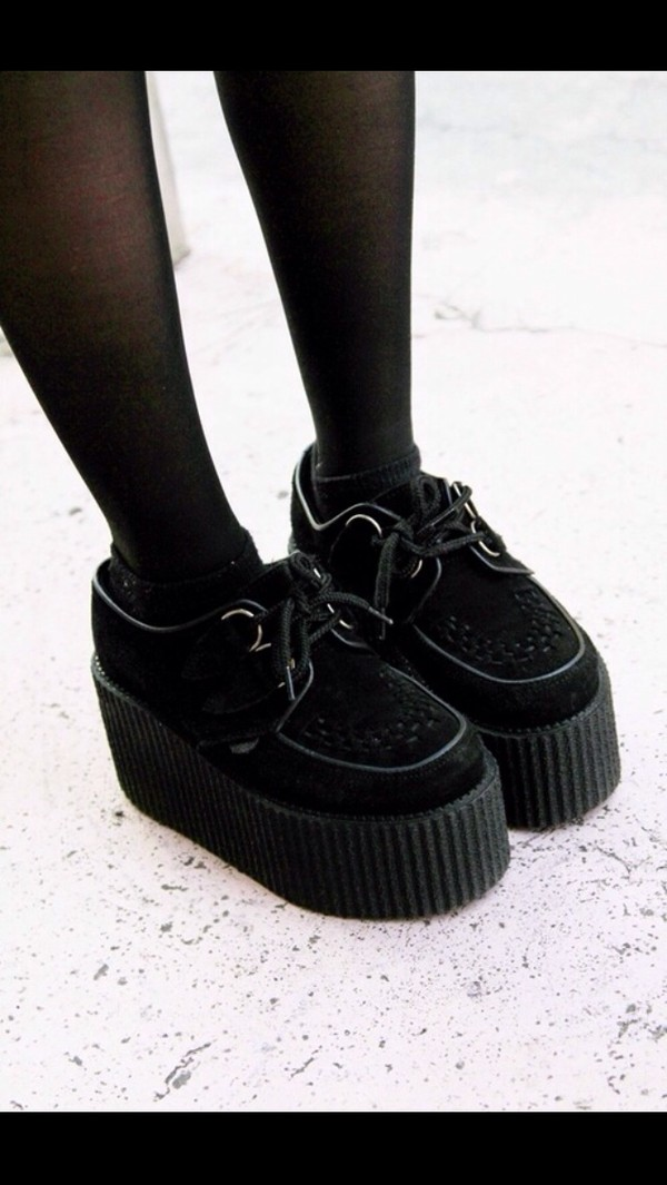 shoes black thicksoles