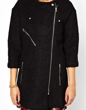 Glamorous | Glamorous Biker Zip Coat In Boucle at ASOS