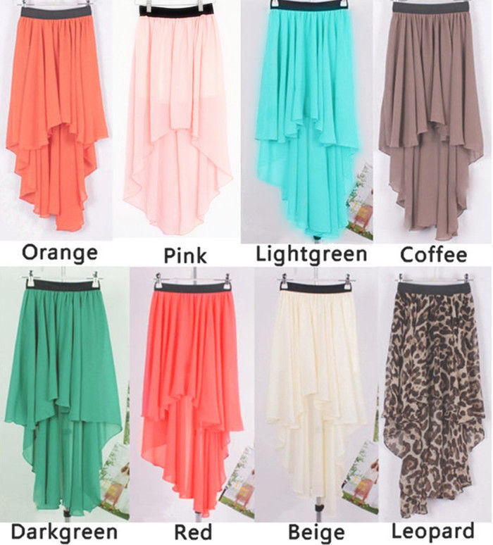 Sexy Asym High Low Hem Chiffon Skirt Ladies Long Maxi Dress Elastic Waist#USFO01