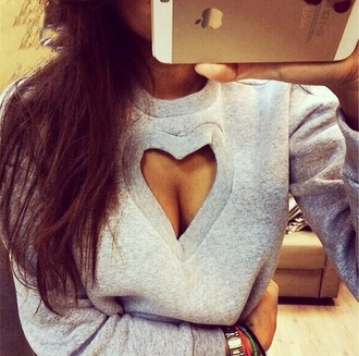 sweater grey sweater winter sweater heart blouse