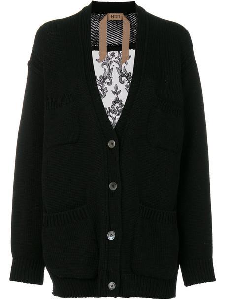 No21 cardigan cardigan back women lace cotton black silk sweater