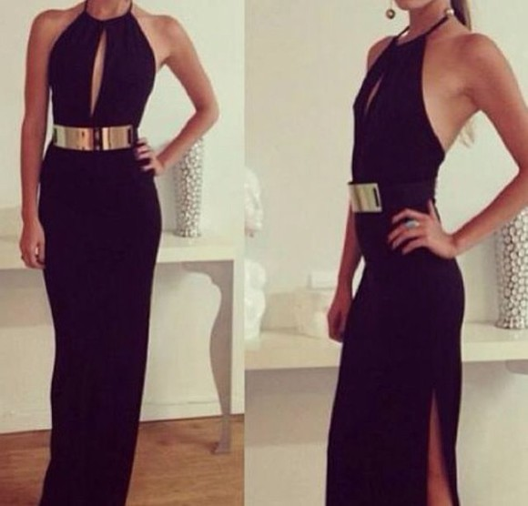cut-out dress cut-out little black dress black cutout dress gold belt dress halter neck dress
