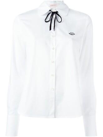 shirt bow women white cotton top