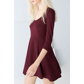 dress mini dress burgundy burgundy dress red wine casual dress skater dress long sleeves back to school pretty platinum hair fall colors