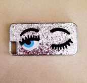 phone cover,sparkle,eyes,make-up,phone,glitter,iphone,iphone case