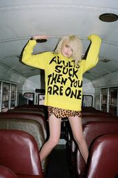 sweater,quote on it,sky ferreira,yellow,adults suck then you are one,adults suck,grunge,shirt,tumblr,pop punk,punk,punk rock