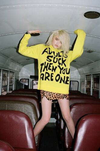 sweater quote on it sky ferreira yellow adults suck then you are one adults suck grunge shirt tumblr pop punk punk punk rock