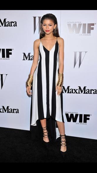 dress black and white black white monochrome horizontal stripe stripes spaghetti strap strapped midi dress v neck