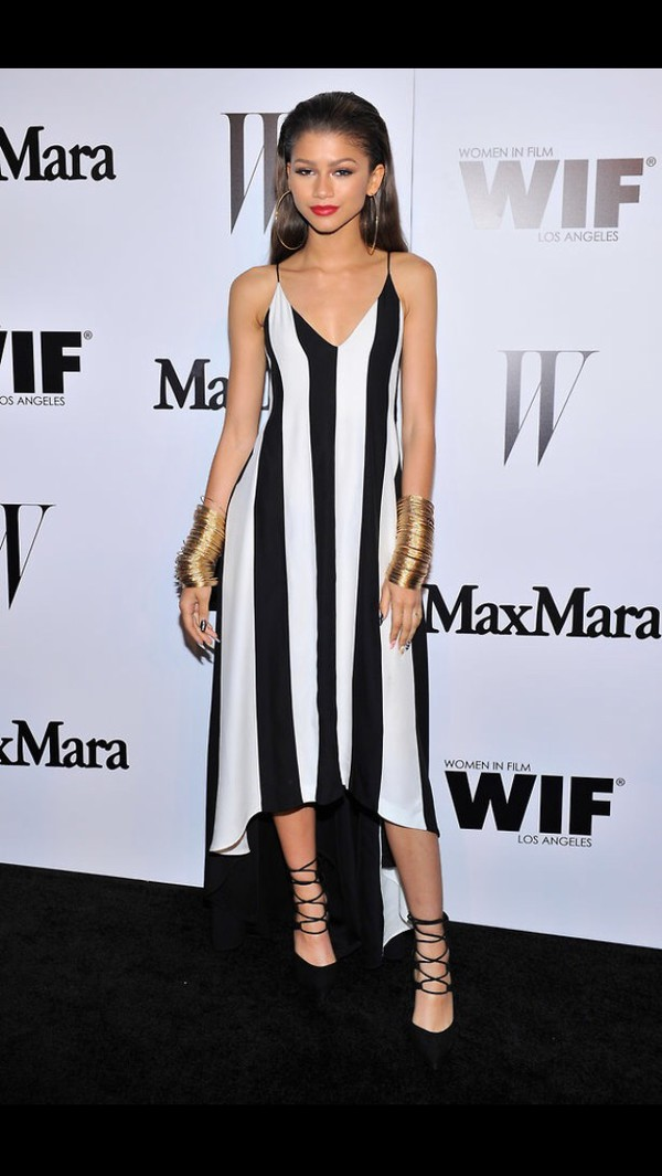 dress black and white black white monochrome horizontal stripe stripes spaghetti strap strapped midi dress v neck