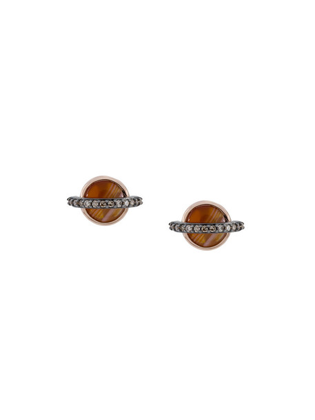 Astley Clarke rose gold rose women earrings stud earrings gold grey metallic jewels