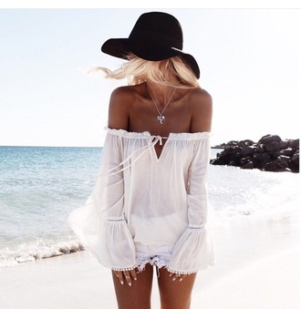 romper jumpsuit one piece hat hair accessory accessories fashion style outfit party outfits summer outfits spring outfits spring long sleeves jewels off the shoulder blouse