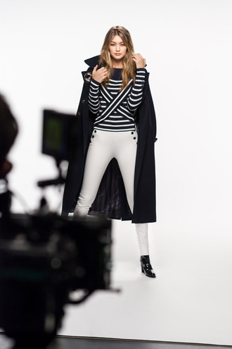 coat tumblr black coat long coat winter coat top striped top stripes long sleeves pants white pants boots black boots gigi hadid celebrity style celebrity model
