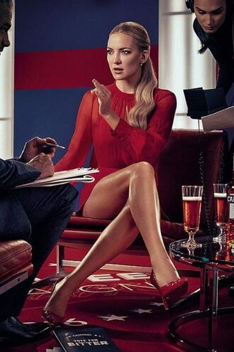 shoes pumps red kate hudson red dress