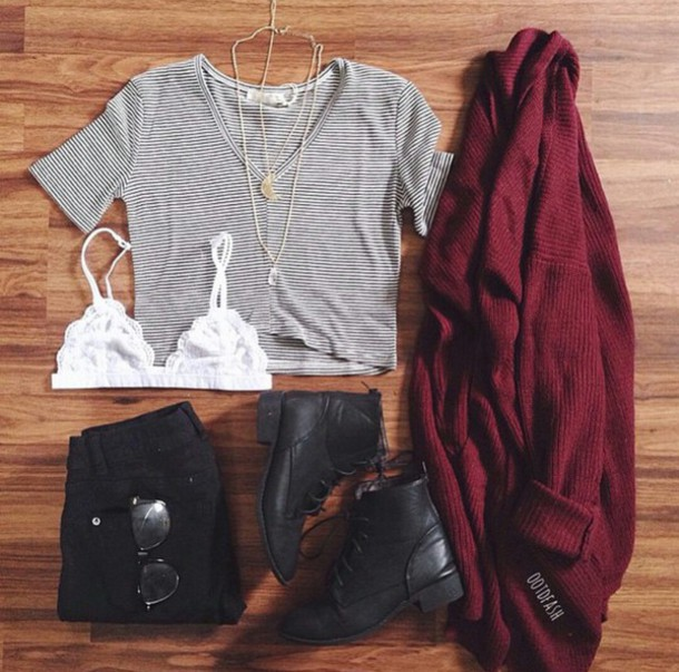 stripes striped top burgundy cardigan burgundy sweater combat boots boots bralette black jeans