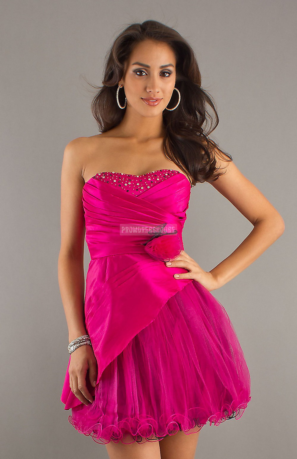 Strapless Fuchsia Lace-up Satin Draped Baby Doll Cocktail Dress - Promdresshouse.com