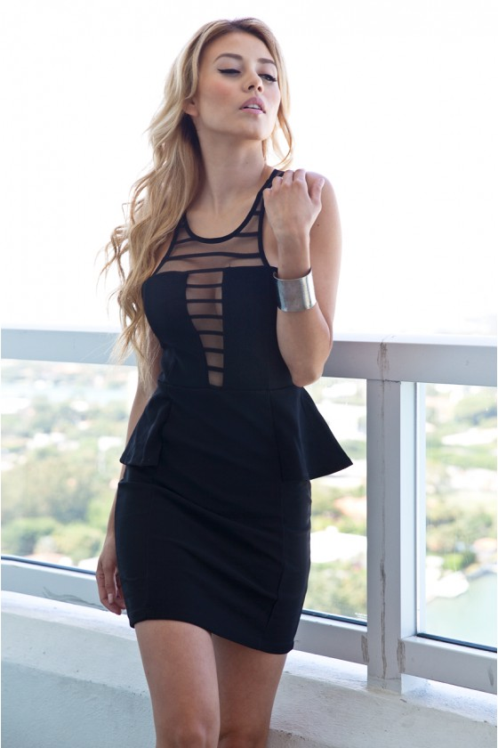 Peplum Mesh Dress