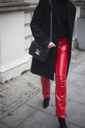 oliviakijo,blogger,coat,pants,bag,shoes,louis vuitton bag,black coat,winter outfits,fall outfits,red pants,boots,tumblr,vinyl,black boots,pointed boots,top,black top,black bag,louis vuitton