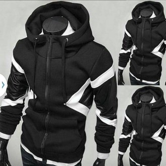 jacket black white hoodie cotton