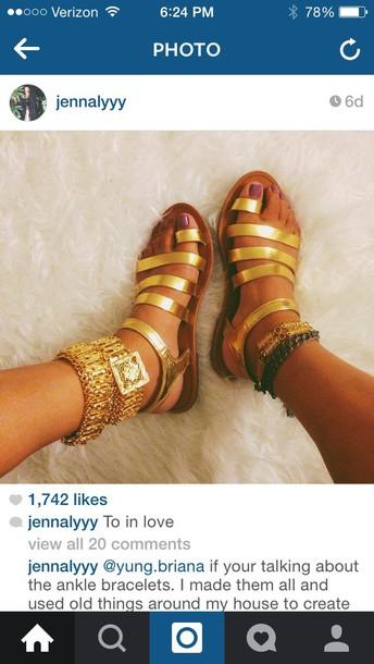 shoes gold sandals