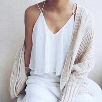tank top white strappy tan sweater beige