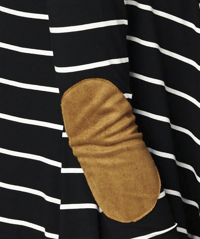 Black striped elbow patch cardigan
