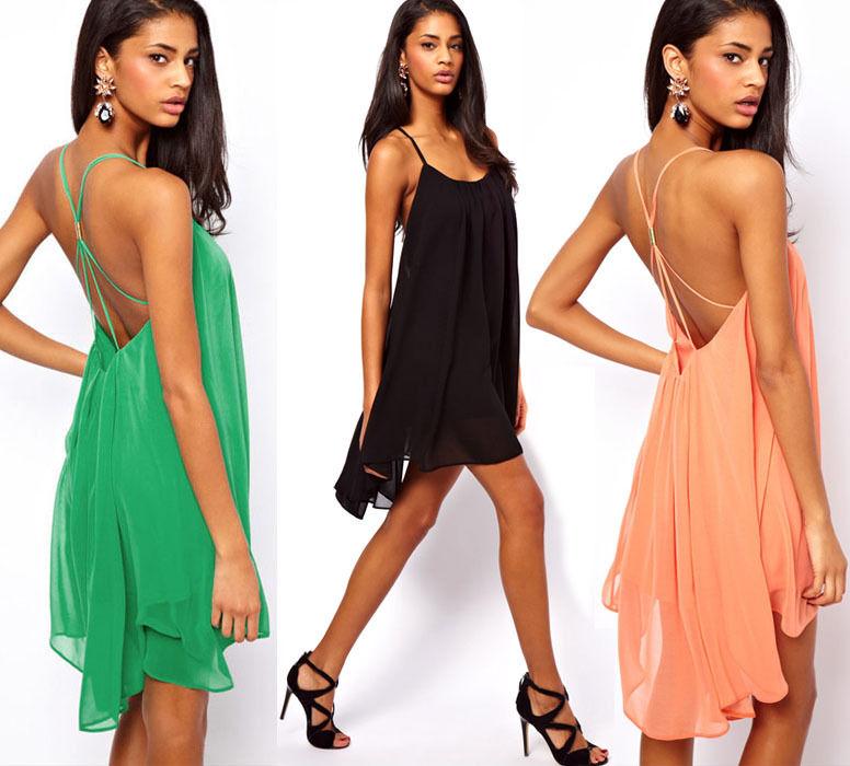 Sexy Women Strap Backless Chiffon Low-cut Slim Cocktail Party Swing Mini Dress N | eBay