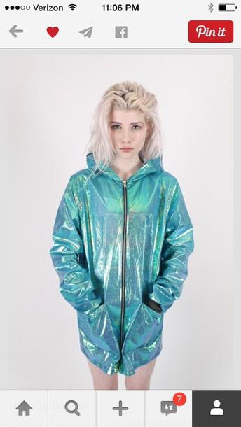 jacket grunge jacket shiny windbreaker spring jacket holographic windbreaker holographic teal jacket blue turquoise holographic turquoise tumblr holographic jacket iridescent green mermaid