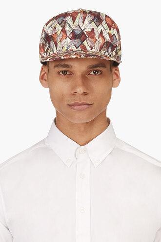 leaf green print menswear burgundy baseball cap hat