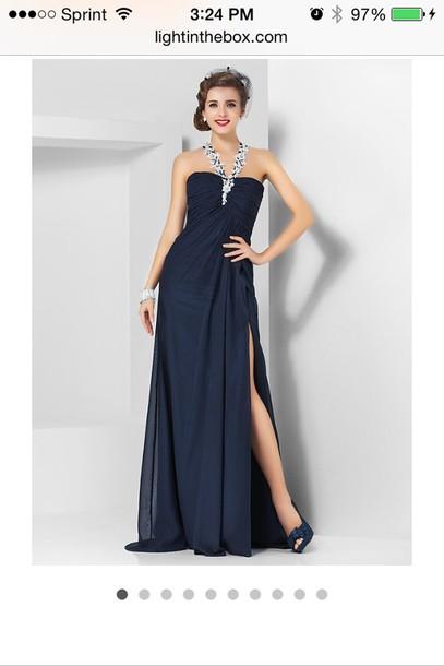 dress, nacy, navy, navy dress, navy prom dress, blue, blue dress ...