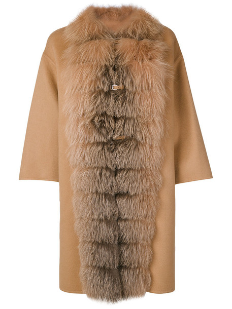 Ermanno Scervino cape fur fox women wool brown top