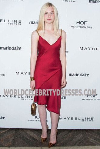 elle fanning red celebrity sweet 16 dresses for less marie claire's fresh faces party