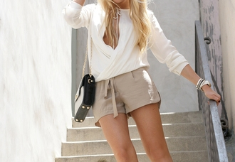 blouse shorts shirt white blogger top taupe cheyenne meets chanel