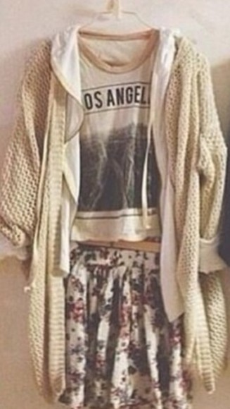 floral skirt sweater cute girly shirt knitted cardigan oversized cardigan t-shirt grunge hipster