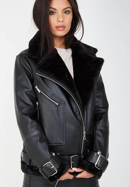 Zip Detail Shearling Biker Jacket - Black