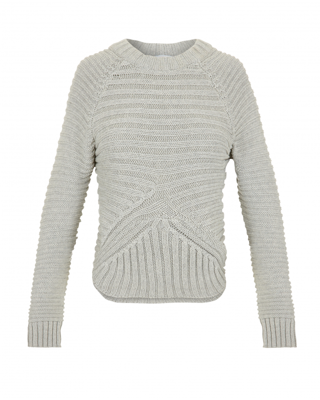 Minty meets munt rib knit sweater in marble grey