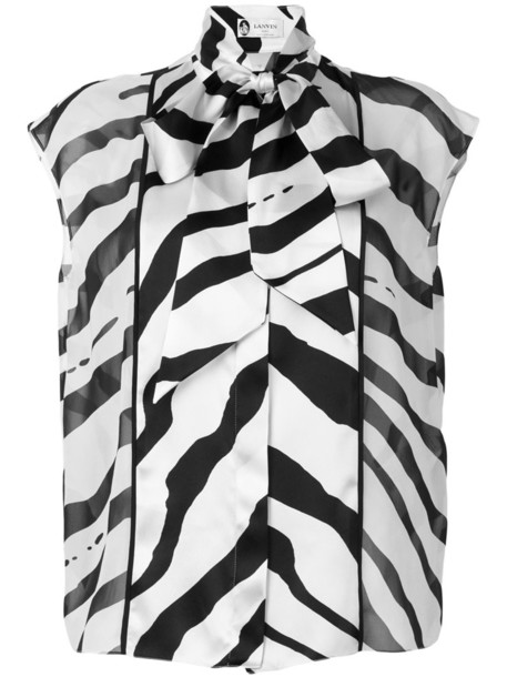 lanvin blouse women nude silk top