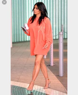 shirt kim kardashian sweater dress coral oversized sweater