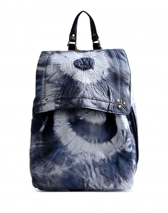 bag tie dye backpack leather backpack grey