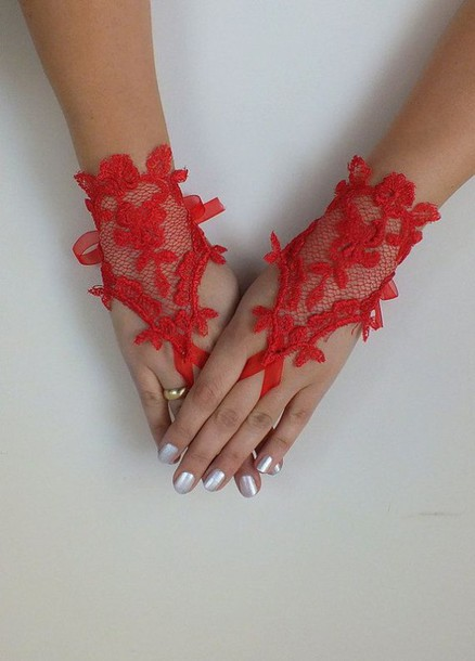 gloves red lace