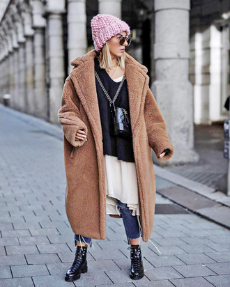 coat tumblr brown brown coat fuzzy coat teddy bear coat sweater black sweater beanie pink beanie boots black boots ankle boots
