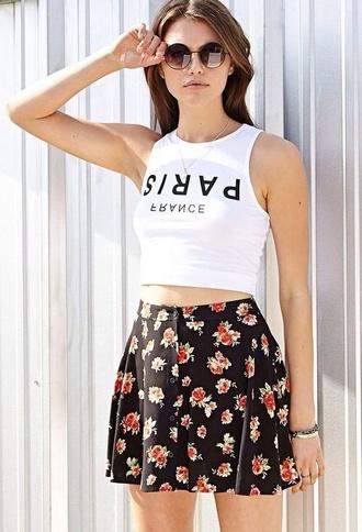 shirt paris crop tops skirt
