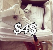 nike air,nike sneakers,nike air force 1,instagram,tumblr outfit,india westbrooks,hightop nikes,shoes,white