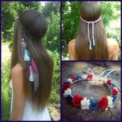hair accessory,july 4th,red white blue 4th of july,red white and blue,flower crown,headband,feathers,feather headband,july 4th jewelry,patriotic,braided