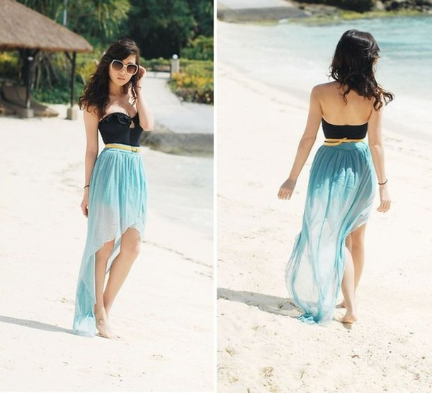 dress dress skirt tank top blue dress black fashion beach maxi skirt tumblr swimwear beach cover up blue skirt blue beach dress sundress