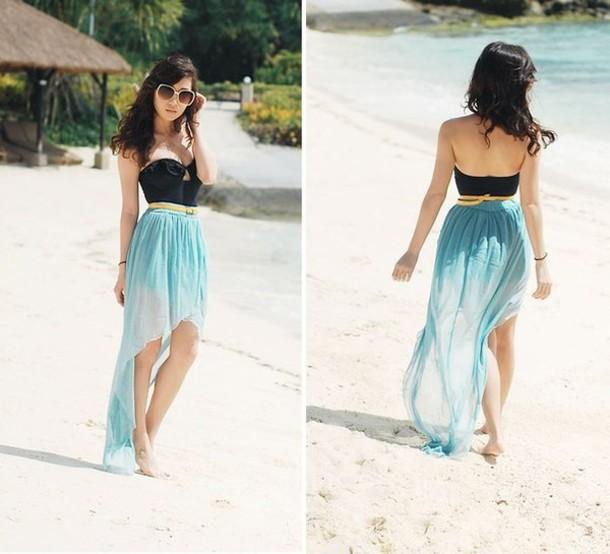 dress dress skirt tank top blue dress black fashion