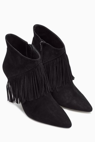Suede Fringe Point Ankle Boots from the Next UK online shop