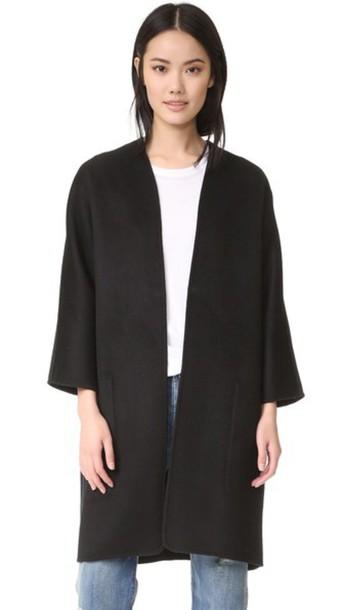 Vince Reversible Felt Cardigan Coat - Coastal/Black